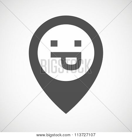 Isolated Map Marker With A Sticking Out Tongue Text Face