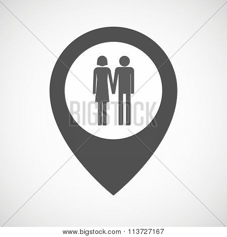 Isolated Map Marker With A Heterosexual Couple Pictogram