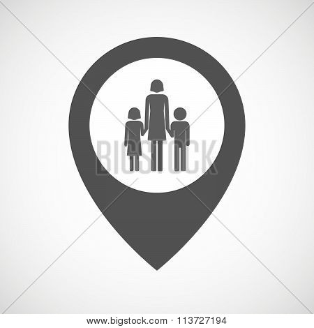 Isolated Map Marker With A Female Single Parent Family Pictogram