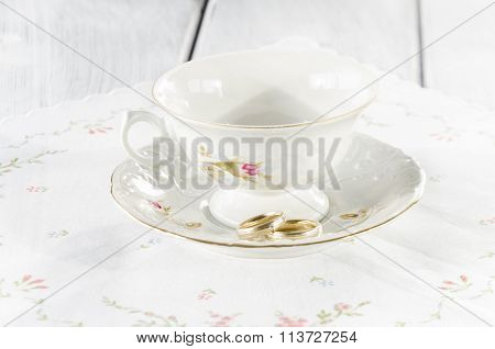 Elegant Old Cup Made Of Genuine Porcelain