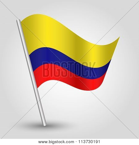 Vector Waving Simple Triangle Colombian Flag On Slanted Pole
