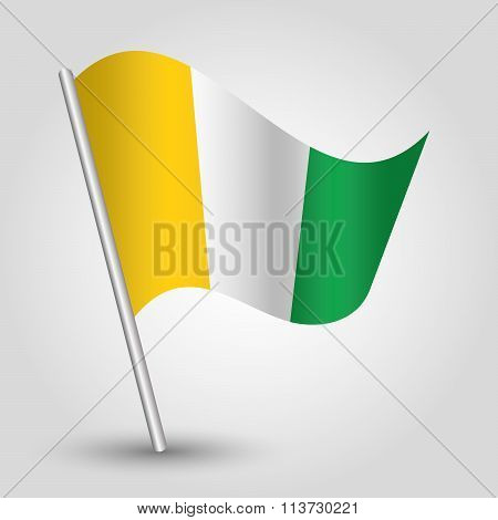 Vector Waving Simple Triangle African Flag On Slanted Pole