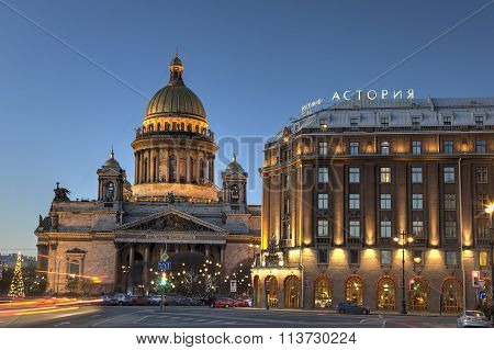 Evening View On St. Isaac's Cathedral In Saint Petersburg, Russia.