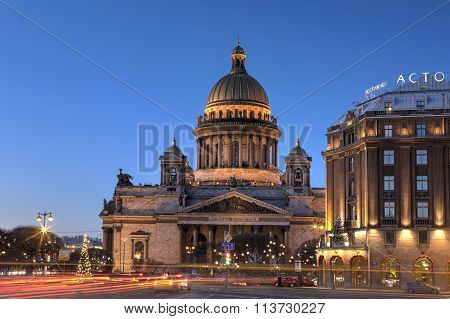 Night St. Isaac's Cathedral In Christmas Decorations, Saint Petersburg, Russia.