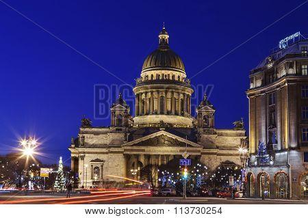 St. Isaac's Cathedral Saint Petersburg At Night Illumination, City Prenew.