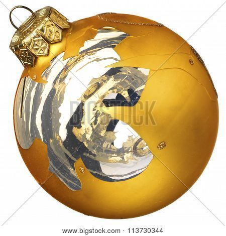 Accidentally Broken Golden Christmas Glass Ball Isolated On A Wh