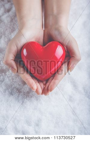 Woman Hands Are Holding A Beautiful Glossy Red Heart In A Snow B