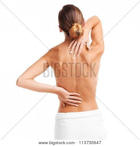 Picture of a woman with backache over white background