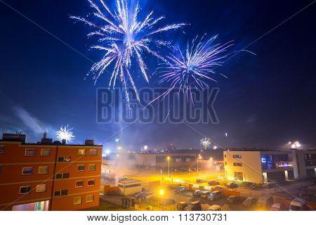 Fireworks display on New Years Eve in Pruszcz Gdanski, Poland