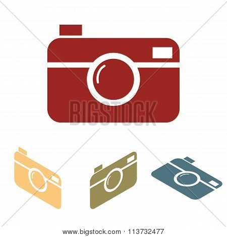 Digital photo camera icon set. Isometric effect