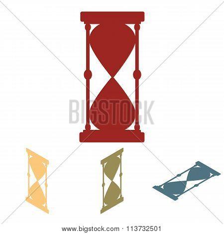 Hourglass. Vector black silhouette set. Isometric effect