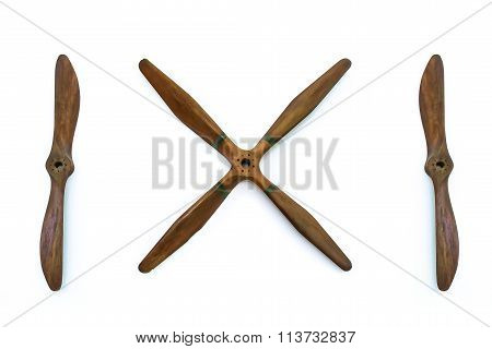Wooden plane propellers isolated on white background.