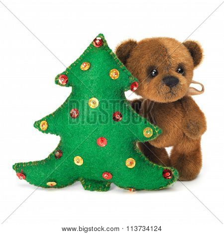 Christmas Tree Decoration With Cute Classic Teddy Bear