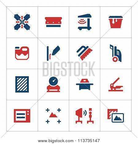 Set color icons of screen printing