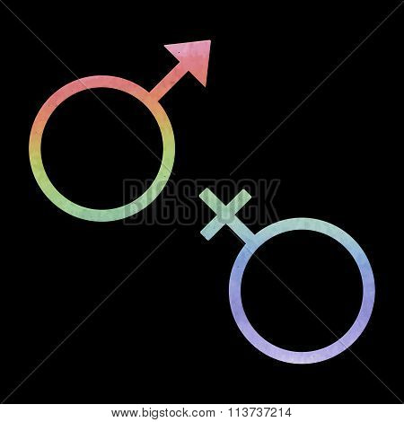 Sex symbol. Vector illustration. Watercolor effect