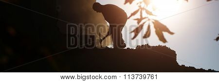 Dark Silhouette Of Labor Man