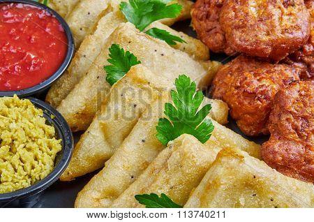 Vegetable Samosas And Onion Bhajis