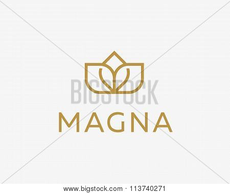 Abstract flower logo icon design. Elegant crown line symbol. Universal premium vector sign.