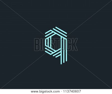 Abstract letter Q logo design template. Line creative sign. Universal vector icon.