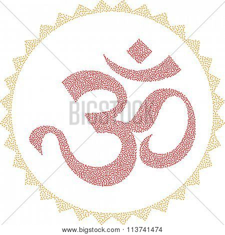 Aum (Om) The Holy Motif Stipple Effect Vector Illustration