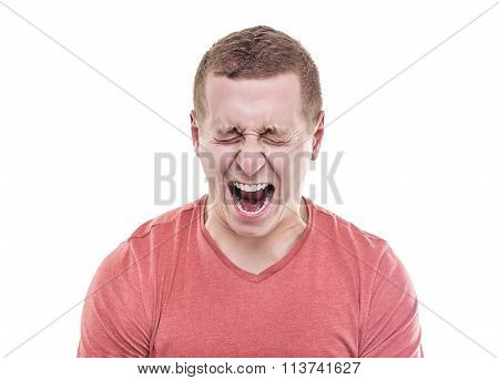 Angry man screaming.