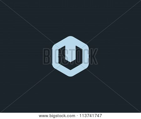 Abstract letter U logo design template. Colorful creative hexagon sign. Universal vector icon.