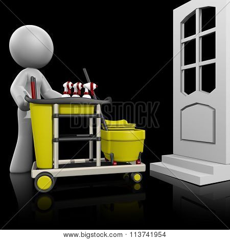 3D Lady House Cleaning On Dark