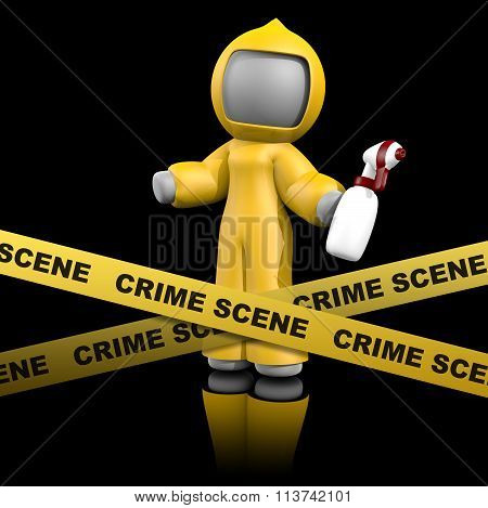 3D Lady Crime Scene Cleaner On Dark