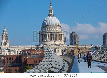 LONDON, St. Paul's cathedral view from the millennium bridge