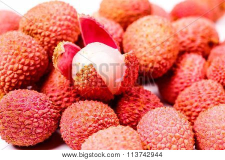 Lychee fruit, lychee or Chinese or Chinese plum.