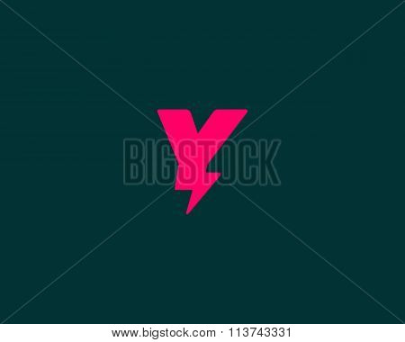 Abstract letter Y logo. Dynamic unusual font. Universal fast speed fire moving quick energy icon.