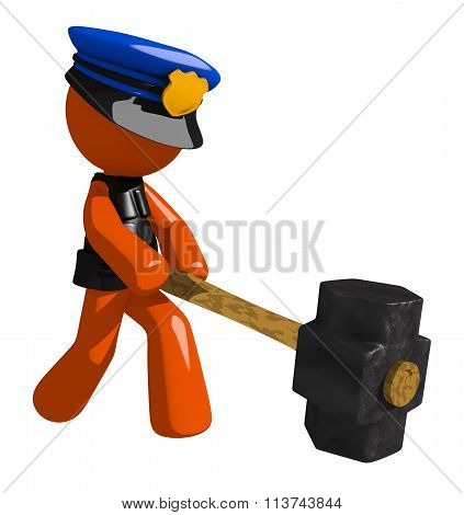 Orange Man Police Officer Hitting With Sledge Hammer
