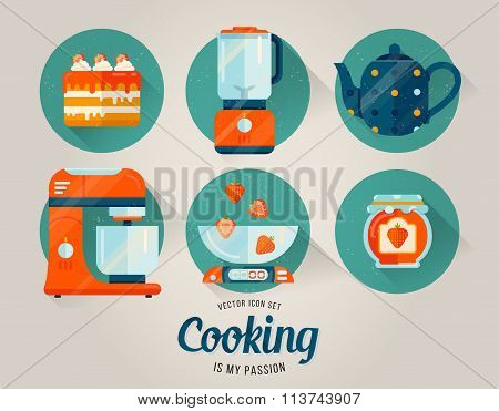 Vector set of kitchenware icon. Cooking illustration in flat style. Kitchen collection.