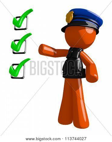 Orange Man Police Officer Pointing Green Checkmark List