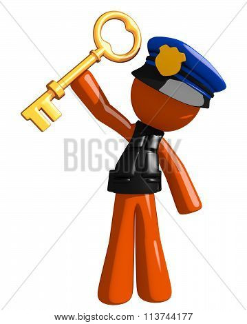 Orange Man Police Officer Holding Up Key To Success