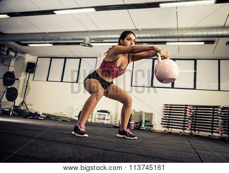 Woman training in a gym