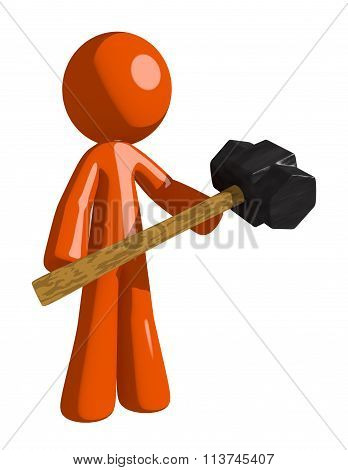 Orange Man Holding Giant Sledge Hammer
