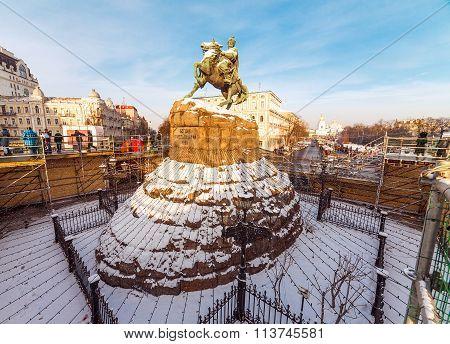 Monument Of Famous Ukrainian Hetman Bogdan Khmelnitsky In Front Of St. Michael;s Golden-domed Mo
