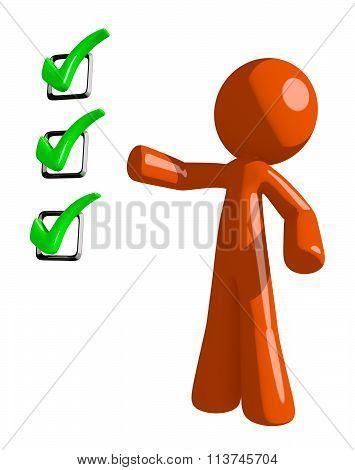 Orange Man Pointing Green Checkmark List