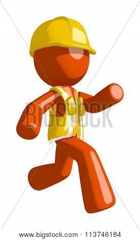 Orange Man  Running Or Chasing Or Escaping