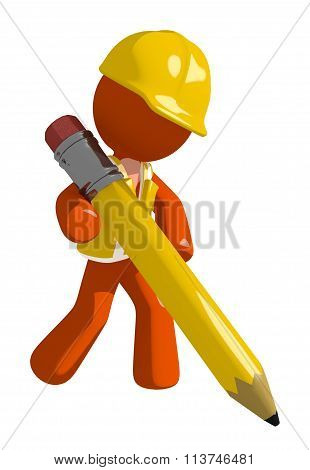 Orange Man Construction Worker  Writing With Giant Pencil