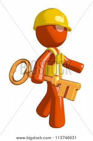 Orange Man Construction Worker  Walking With Gold Key