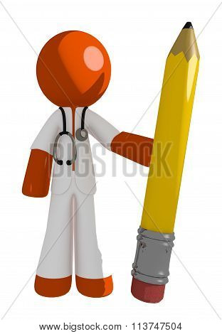 Orange Man Doctor Holding Giant Pencil