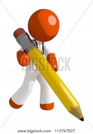 Orange Man Doctor Writing With Giant Pencil