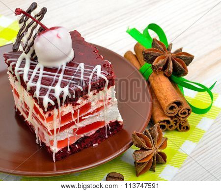 Delicious Cake With Chocolate And Cherry On Background Sacking