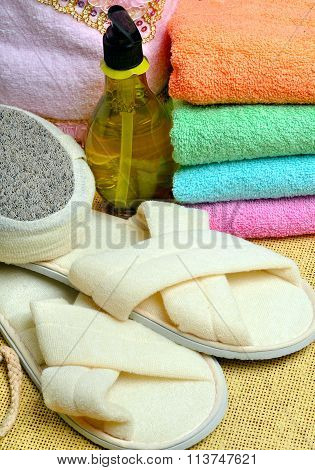 Spa - Colorful Towels, Soap And Massage Accessory