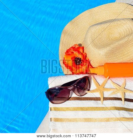 Beach Hat, Sunglasses, Bath Towel, Sun Spray, Starfish Near