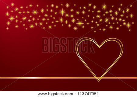 Two golde hearts love card