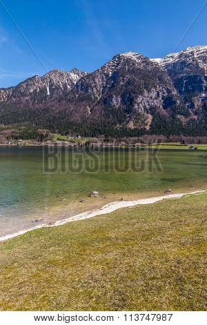 Lake Hallstater See Shore With Mountains-hallstatt