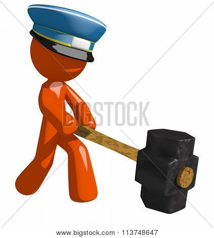 Orange Man Postal Mail Worker Hitting With Sledge Hammer
